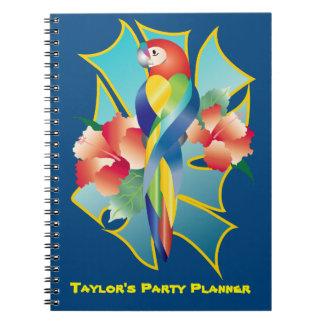 Pretty Rainbow Parrot Tropical Orange Hibiscus Flo Notebook