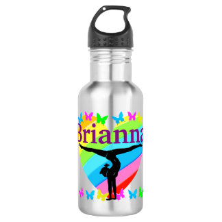 PRETTY RAINBOW PERSONALIZE GYMNASTICS WATER BOTTLE