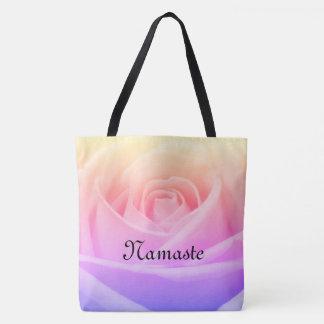 Pretty rainbow Rose Namaste design Tote Bag