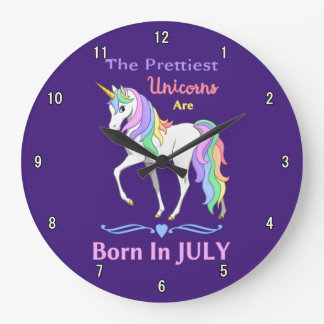 Pretty Rainbow Unicorns Are Born In July Large Clock