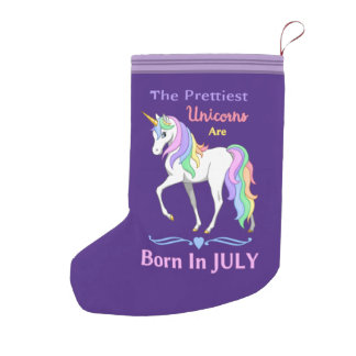 Pretty Rainbow Unicorns Are Born In July Small Christmas Stocking