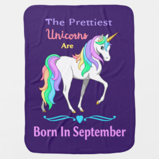 Pretty Rainbow Unicorns Born In September Baby Blanket