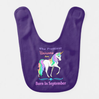 Pretty Rainbow Unicorns Born In September Bib