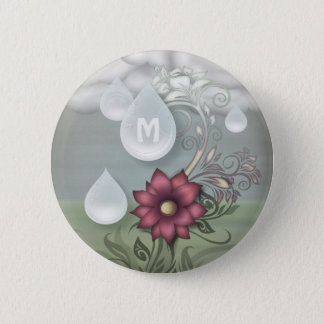 Pretty Raindrops Personalized Monogram 2 Inch Round Button