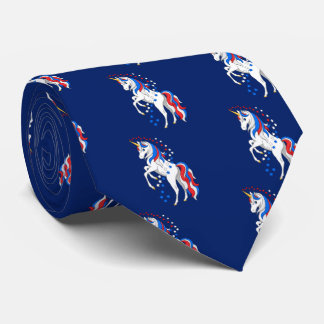 Pretty Rearing Patriotic American Unicorn Tie