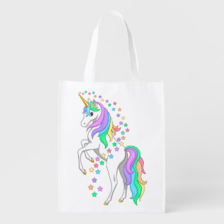 Pretty Rearing Rainbow Unicorn Falling Stars Reusable Grocery Bag