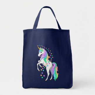 Pretty Rearing Rainbow Unicorn Falling Stars Tote Bag