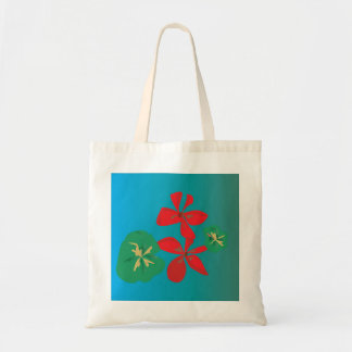 Pretty Red and Aqua >Colourful Flower Tote