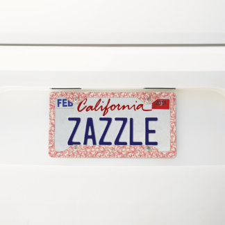 Pretty Red and Creme Licence Plate frame