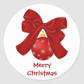 Pretty Red and Silver Ornament Stickers