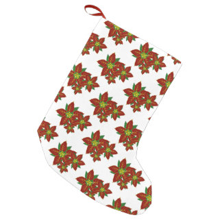 Pretty Red And White Poinsettia Pattern Christmas Small Christmas Stocking