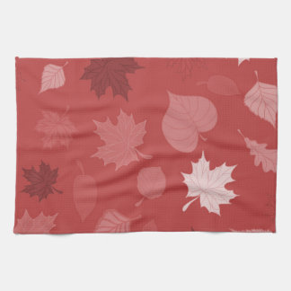 Pretty Red Autumn Leaves Kitchen Towel