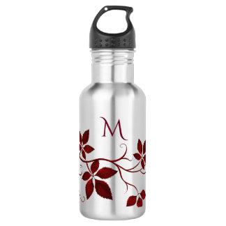 Pretty Red Autumn Leaves on the Vine Monogram 532 Ml Water Bottle