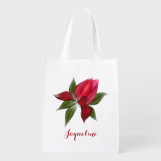 Pretty Red Bloom Reusable Grocery Bag