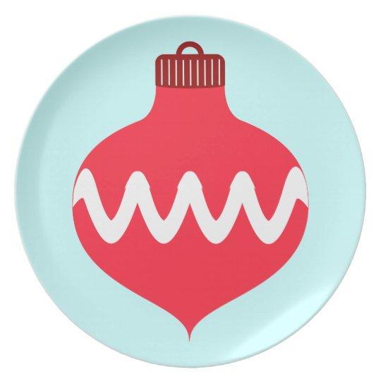 Pretty Red Christmas Bulb Plate
