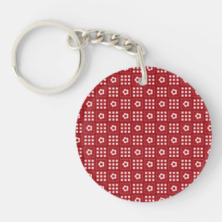 Pretty Red Flower Patchwork Quilt Pattern Double-Sided Round Acrylic Keychain