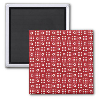 Pretty Red Flower Patchwork Quilt Pattern Square Magnet