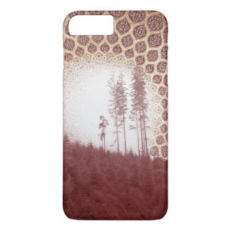 Pretty Red Forest Bohemian Tribal Sun and Trees iPhone 7 Plus Case