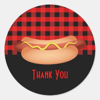 Pretty Red Gingham Hotdog Thank You Seal