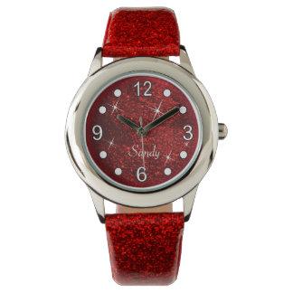 Pretty Red Glitter Texture Watch
