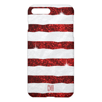 Pretty Red Glitter & White Stripes | Monogram iPhone 7 Plus Case
