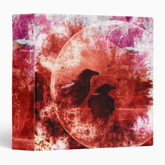 Pretty Red Grunge Raven Fantasy Design 3 Ring Binder