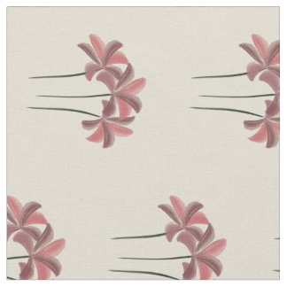 Pretty Red Lilies Beige Pattern Fabric