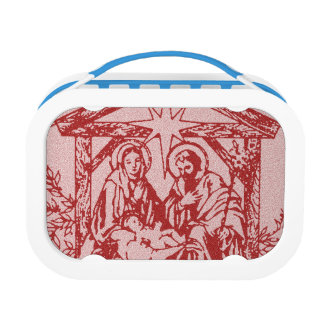 Pretty Red Nativity Lunch Box