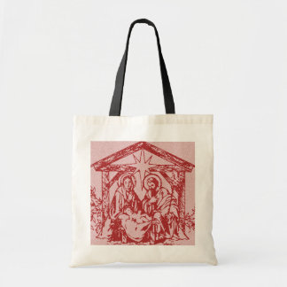 Pretty Red Nativity Tote Bag