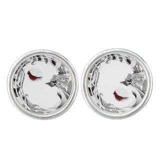 Pretty Red Northern Cardinal Bird Cufflinks