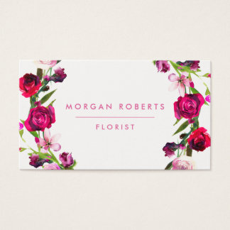 Pretty Red & Pink Rose Floral Beauty Florist Hair Business Card
