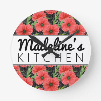 Pretty Red Poppies Round Clock