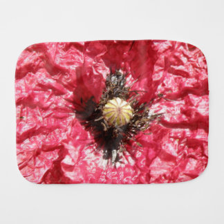 Pretty Red Poppy Flower Macro Burp Cloth