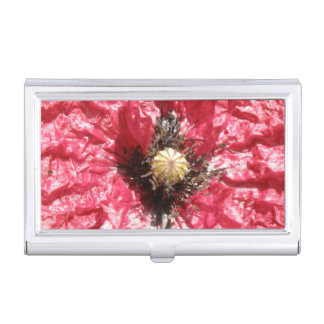 Pretty Red Poppy Flower Macro Business Card Holder