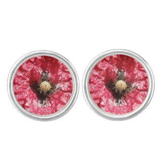 Pretty Red Poppy Flower Macro Cufflinks