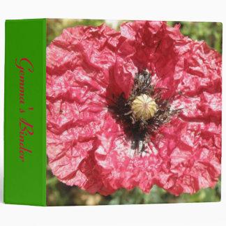 Pretty Red Poppy Flower Macro Custom Binder