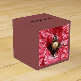 Pretty Red Poppy Flower Macro Custom Favor Box