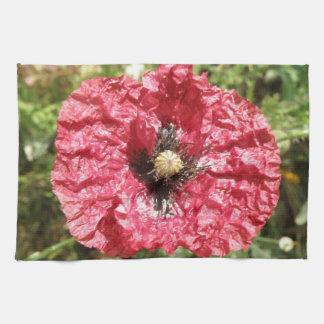 Pretty Red Poppy Flower Macro Kitchen Towel