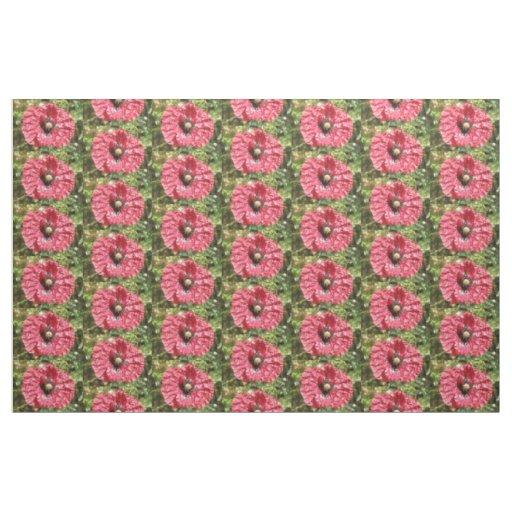 Pretty Red Poppy Flower Macro Patterned Animal Fabric