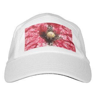 Pretty Red Poppy Flower Macro Performance Hat