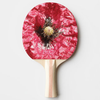 Pretty Red Poppy Flower Macro Ping Pong Paddle