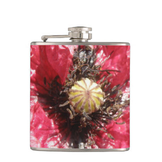 Pretty Red Poppy Flower MacroFlask Flasks