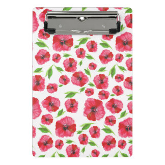 Pretty Red Poppy Watercolor Pattern Girly Floral Mini Clipboard