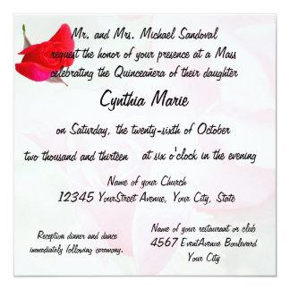 """Pretty Red Rose Quinceanera Birthday 5.25"""" Square Invitation Card"""