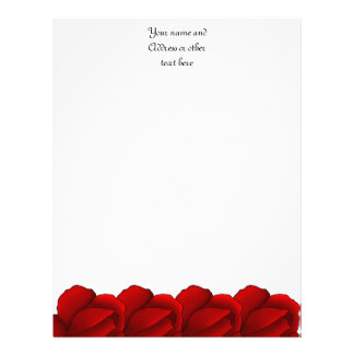 Pretty red roses personalized letterhead template