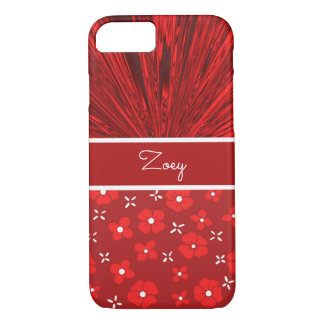 Pretty Red Satin n Flowers Monogram iPhone 8/7 Case