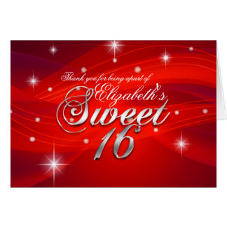 Pretty Red Sparkle Sweet Sixteen Thank You Card