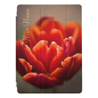 Pretty Red Tulip Petals. Add Your Name. iPad Pro Cover