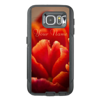 Pretty Red Tulip Petals. Add Your Name. OtterBox Samsung Galaxy S6 Case