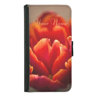 Pretty Red Tulip Petals. Add Your Name. Samsung Galaxy S5 Wallet Case